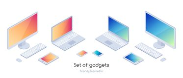 Isometric set of gadgets royalty free illustration