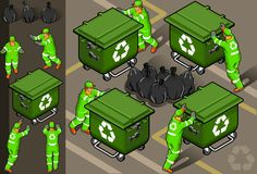 Isometric set of garbage man. In four position Stock Image
