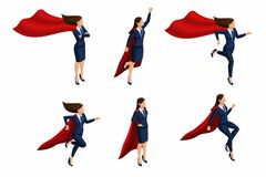 Isometric Set of girls, 3d business lady, super woman, super hero. Business suit, raincoat. Office worker with super abilities vector illustration