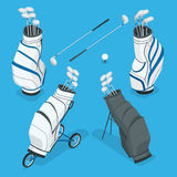 Isometric set of a golf clubs in a white bag. Flat 3d vector illustration  on white background. Stock Image