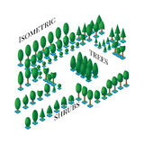 Isometric set of green trees and bushes in the flat is 3D styles to design icons, games, infographics Royalty Free Stock Image