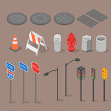 Isometric set icon of city objects Stock Image