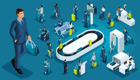 Isometric set international airport icons, passengers with luggage, big businessman on a business trip, transit zone, air lines stock illustration