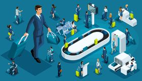 Isometric set international airport icons, passengers with luggage, big businessman on a business trip, transit zone, air lines vector illustration