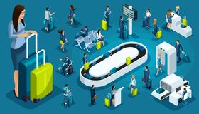 Free Isometric Set International Airport Icons, Passengers With Luggage, Big Business Lady On A Business Trip, Transit Zone, Air Lines Royalty Free Stock Photos - 129616618