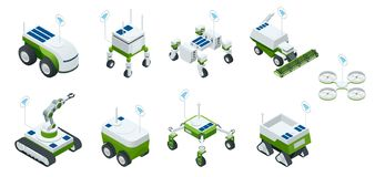 Isometric set of iot smart industry robot 4.0, robots in agriculture, farming robot, robot greenhouse. Agriculture smart. Farming technology vector illustration vector illustration