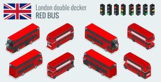 Isometric set Londyński dwoistego decker rewolucjonistki autobus Zjednoczone Królestwo pojazdu ikony set ilustracja wektor