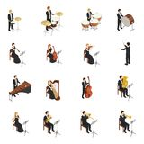 Orchestra People Set. Isometric set of male and female people dressed in costumes and gowns playing various musical instruments in orchestra isolated on white Royalty Free Stock Images