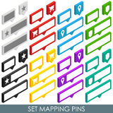Isometric set mapping cloud pins Stock Images