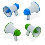 Isometric set of megaphone, bullhorn, loudspeaker isolated on white background. Digital marketing business man holding megaphone for website and promotion stock illustration