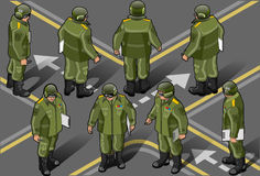 Isometric set of military man in eight position. Detailed illustration of a set of military man in heigt position Royalty Free Stock Photos