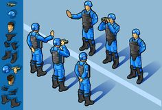 Isometric set of military peacekeepers. Standing in some positions Stock Images