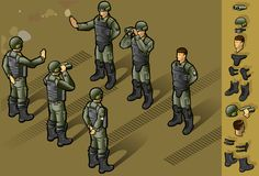Isometric set of military people standing. In some position Stock Image