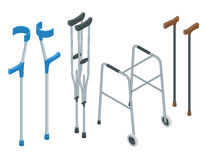 Isometric set of mobility aids including a wheelchair, walker, crutches, quad cane, and forearm crutches. Vector Royalty Free Stock Image