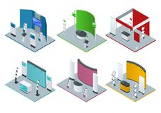 Free Isometric Set Of Promotional Stands Or Exhibition Stands Including Display Desks Shelves And Handout Royalty Free Stock Photos - 108240448