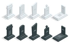 Free Isometric Set Of Tombstones In Cemetery Isolated Om White. Death, Coffin, Funeral. Stock Photo - 183084380