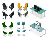 Isometric set of office chairs and tables. Easy VIP Office Furniture on a white background Stock Images