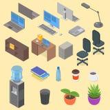 Isometric set of office object. Stock Image