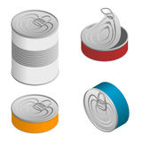 Isometric set of Opened and closed food tin cans with blank label  on white Stock Photos