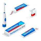 Isometric set pasta do zębów Toothbrush, stomatologiczny floss Klajstruje dentifrice używać z toothbrush jako akcesorium lub gel ilustracji