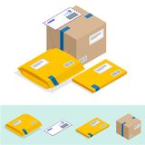 Isometric set of Post Office, attributes of postal service, point of correspondence delivery icons. Postal services icon.  royalty free illustration
