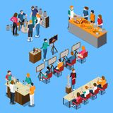 Master Class Isometric Set. Isometric set with pottery master class, bartending course and cooking, drawing and sculpture lessons isolated vector illustration stock illustration
