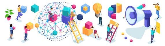 Isometric set przedsiębiorcy dla tworzyć reklamowego pojęć, brainstorming, planowania i strategii rozwój, royalty ilustracja
