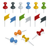 Isometric Set of push pins and flags in different colors on the white background. Thumbtacks Stock Photos