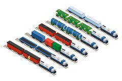 Isometric set of railway trains. Vector isometric illustration of a set of railway trains consisting of locomotives, platforms for transportation of containers Royalty Free Stock Image