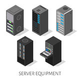 Isometric set server equipment  background Stock Photos