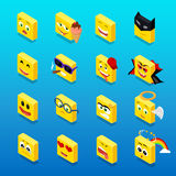 Isometric Set Smiley Funny Design Royalty Free Stock Images