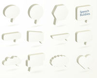 Isometric set of speech bubbles. Collection of light empty vecto Stock Images