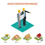 Isometric set stage-by-stage construction of a brick house. House   Royalty Free Stock Photography