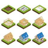 Isometric set stage-by-stage construction of a blockhouse. House building process. Foundation pouring, construction. Of walls, roof installation and landscape royalty free illustration
