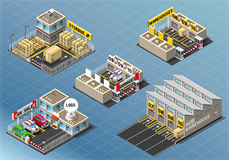 Isometric Set of Storage Buildings Stock Photos
