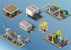 Isometric Set of Storage Buildings. Detailed illustration of a Isometric Set of Storage Buildings and machinery Stock Image