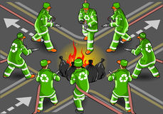 Isometric set of street sweeper man. Detailed illustration of a isometric set of street sweeper man extinguishing the fire in eight positions Royalty Free Stock Image