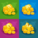 Isometric set of US Dollar, Euro, Great Britain Pound, Japanese Yen for app icon or website.  Stock Photography