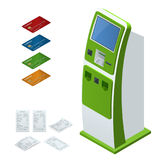 Isometric set vector online payment systems and self-service payments terminals, debit credit card and cash receipt. NFC Stock Photography