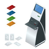 Isometric set vector online payment systems and self-service payments terminals, debit credit card and cash receipt. NFC Royalty Free Stock Photo