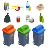 Isometric set of waste sorting cans, segregation. Separation of waste on garbage cans. Disposal. Coloured waste bins for. Plastic, glass, batteries Royalty Free Stock Photo