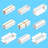 Isometric set of white cardboard box isolated on cian background. Isoleted vector illustration. Open and close empty. Carton packaging box of cartoon style for stock illustration