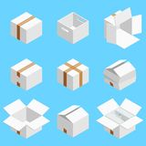 Isometric set of white cardboard box isolated on cian background. Isoleted vector illustration. Open and close empty. Carton packaging box of cartoon style for vector illustration