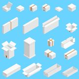 Isometric set of white cardboard box isolated on cian background. Isoleted vector illustration. Open and close empty. Carton packaging box of cartoon style for royalty free illustration