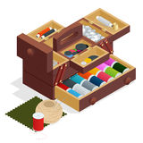 Isometric Sewing kit in wooden box, isolated on white background Stock Photo