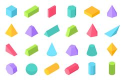 Isometric shapes. 3D geometric form, flat geometry polygon objects such as prism pyramid cylinder sphere. Vector. Isometric set stock illustration