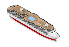 Isometric ship. With pool and red stripe Stock Photo