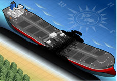 Isometric  Ship Tanker Destroyed in Two Parts in Front View Royalty Free Stock Photos