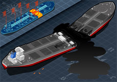 Isometric  Ship Tanker Destroyed in Two Parts in Rear View Royalty Free Stock Images