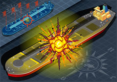 Isometric  Ship Tanker Hit by Explosion in Front View. Detailed illustration of a Isometric  Ship Tanker Hit by Explosion Royalty Free Stock Image